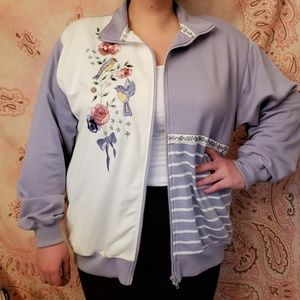 Embroidered Roses & Birds Jacket. Floral Zipper